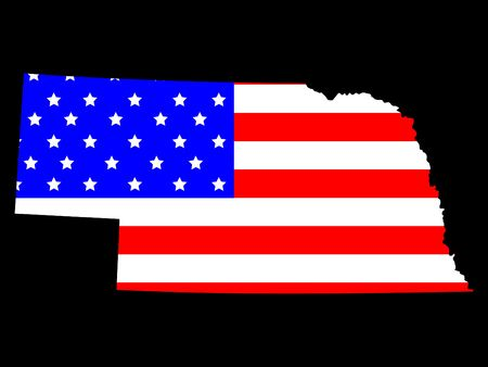 Map of the State of Nebraska and American flag