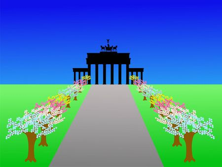 brandenburg: Brandenburg Gate Berlin and trees in springtime illustration