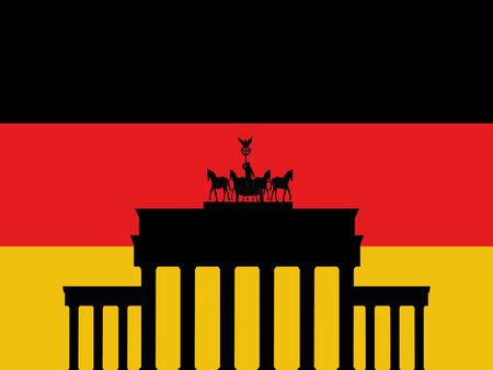 Brandenburg Gate Berlin and German flag illustration Vector