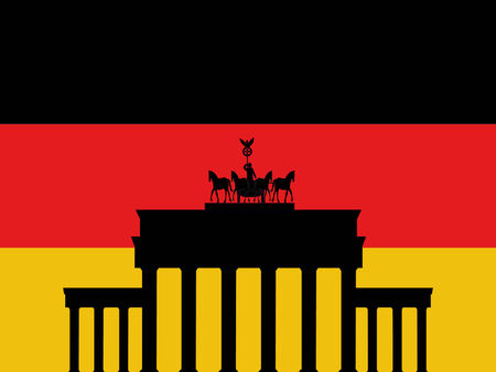 Brandenburg Gate Berlin and German flag illustration