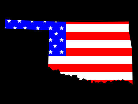 Map of the State of Oklahoma and American flag Vector