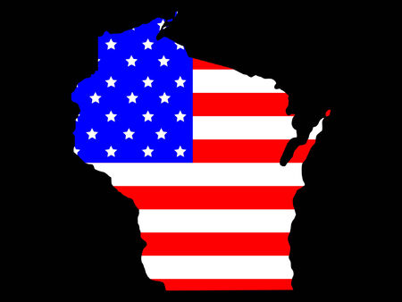 wisconsin: Map of the State of wisconsin and American flag Illustration