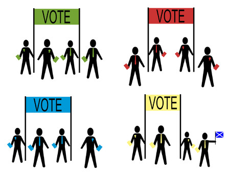 campaigning: people campaigning for British political parties Illustration