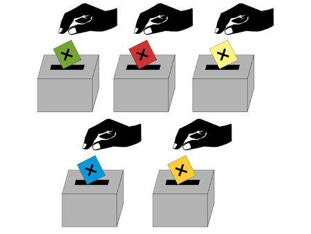 liberal: people voting for British political parties illustration