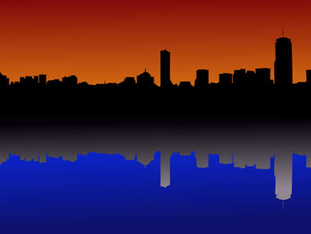 boston skyline: Boston skyline reflected at sunset illustration