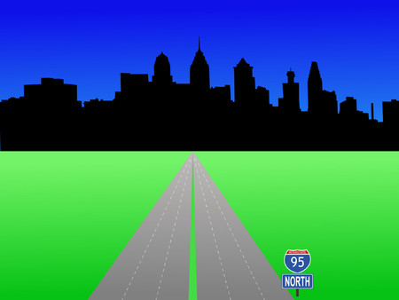 deserted: Philadelphia Pennsylvania skyline and interstate 95