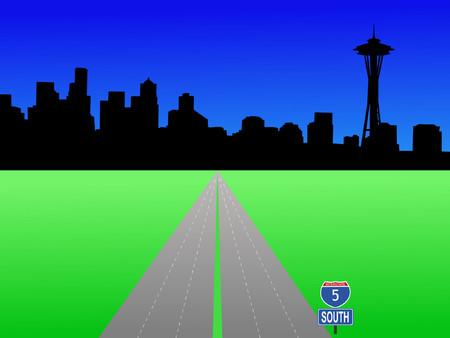 deserted: Seattle skyline and deserted interstate 5 illustration Illustration