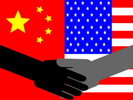 truce: business handshake with Chinese and American flag