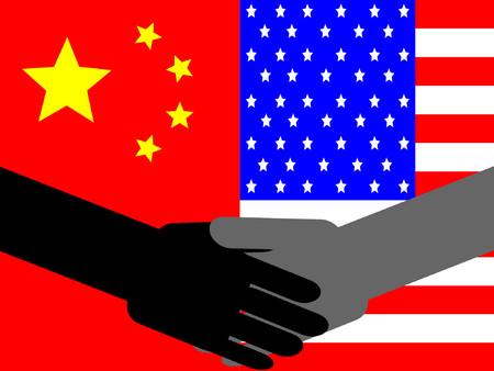business meeting asian: Poign�e de main avec des entreprises chinoises et drapeau am�ricain