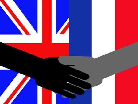 mani che si stringono: stretta di mano di affari con la bandierina britannica e francese