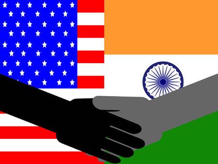 business meeting asian: Poign�e de main avec les entreprises am�ricaines et indiennes drapeau