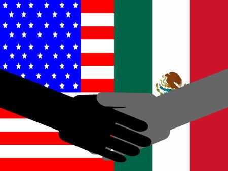 mexican flag: stretta di mano con le imprese americane e bandiera messicana Vettoriali