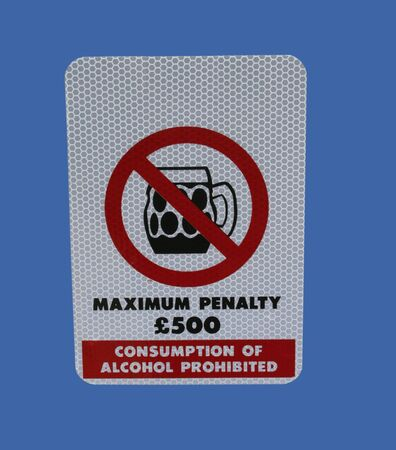intoxicating: no drinking alcohol sign with beer glass symbol Stock Photo