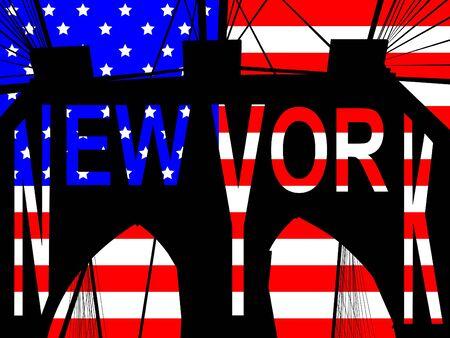 brooklyn bridge: Brooklyn bridge New York against American Flag illustration