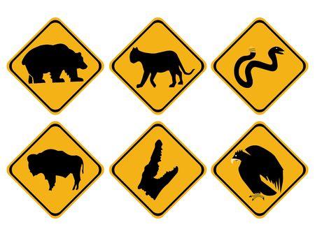 symbol vigilance: American dangerous wildlife signs bear snake bison alligator Stock Photo