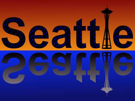 Seattle text with space needle at dusk reflected in water Stock Photo - 880345