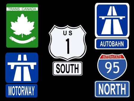 highway signs: international Highway signs illustration American Canadian German and British Stock Photo