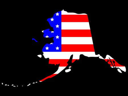 Map of the State of Alaska and American flag photo