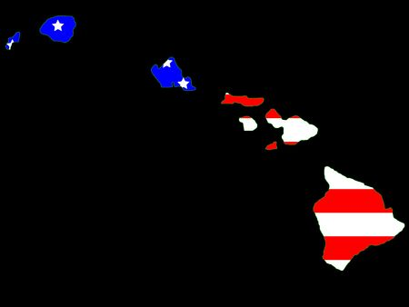 oahu: Map of the State of hawaii and American flag