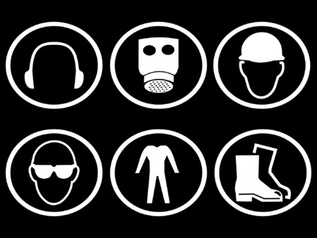 safety goggles: construction safety symbols breathing apparatus