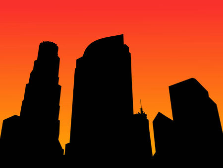 angeles: Los Angeles skyline at sunset with colorful sky Illustration