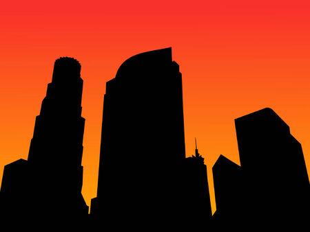 los angeles: Los Angeles Skyline bei Sonnenuntergang mit bunten Himmel Illustration