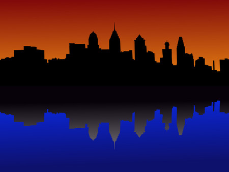 Philadelphia Pennsylvania skyline at sunset Vector
