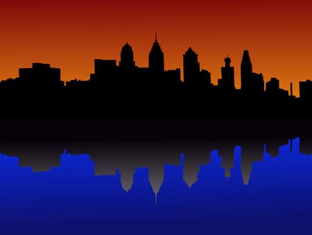 philadelphia: Philadelphia Pennsylvania skyline at sunset Illustration