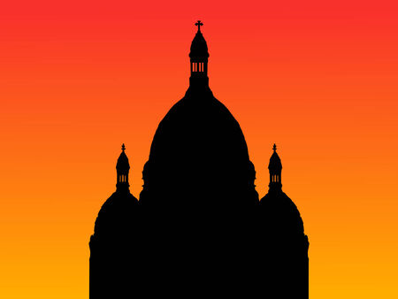 coeur: Sacre Coeur Basilica Montmartre at sunset with colorful sky Illustration