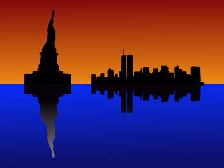 world trade center: Statue of Liberty at sunset