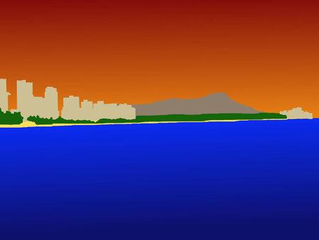 oahu: Waikiki Skyline and Diamond Head at sunset Illustration