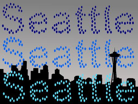 seattle skyline: Seattle skyline in rain shower illustration