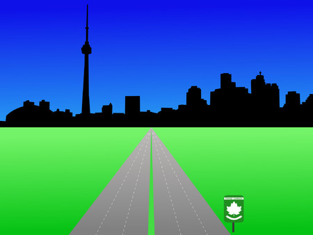 Toronto skyline with trans Canada highway Vector