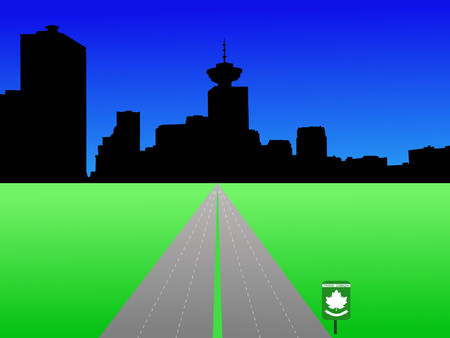 vancouver: Vancouver skyline with trans Canada highway