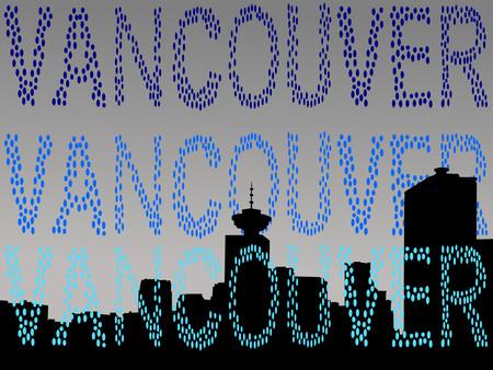 vancouver: Vancouver skyline in rain shower illustration