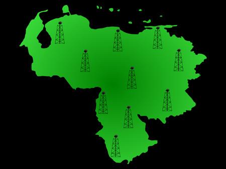 venezuelan: Mapa de Venezuela y el petr�leo derricks ilustraci�n