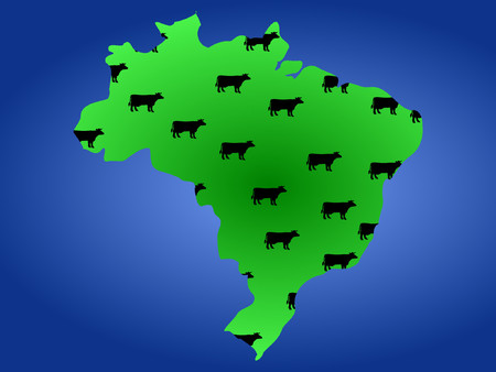 sea cow: Map of Brazil with green fields and herd of cows