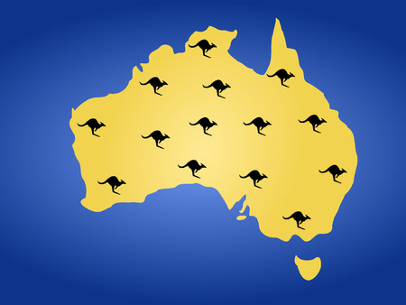 Map of Australia and many kangeroos hoping Vector