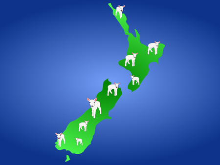 Map of New Zealand and young spring lambs Vector