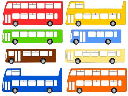 double: double deck, single deck, and open top buses illustration Stock Photo