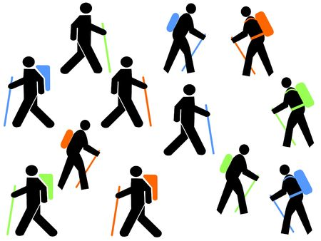walking pole: colourful hikers with walking poles and backpacks Stock Photo