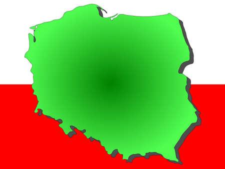 bandera de polonia: mapa de Polonia y la ilustraci�n pabell�n polaco