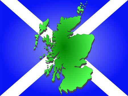 scottish flag: map of Scotland and scottish flag illustration Stock Photo