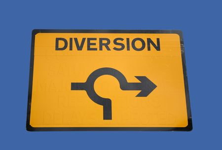 diversion: diversion around roundabout sign isolated on blue
