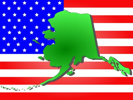 Map of the State of Alaska and American flag