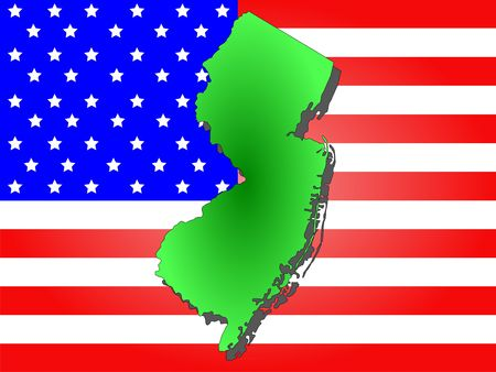 Map of the State of New Jersey and American flag photo