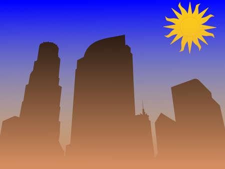 smog: Los Angeles skyline with smog illustration Stock Photo