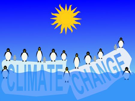 frigid: climate change with penguins on ice bergs illustration Stock Photo