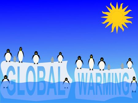 iciness: global warming with penguins on icebergs illustration