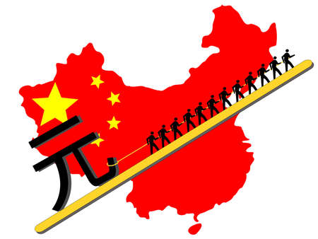 yuan: Workers pulling giant Yuan sign with chinese map and flag Stock Photo